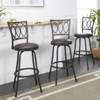 Furnish your eat-in kitchen, rec room or home entertainment space with this Atoka Adjustable Height Swivel Bar Stool. Crafted of steel, it offers more than just a sturdy place to sit. The transitional design adds a timeless sophistication and modern detail to your kitchen island or table. Adjustable legs increase the longevity of use by allowing you to customize these pub height stools to fit your space. Boasting both style and comfort, these seats feature a footrest and around foam-cushioned...