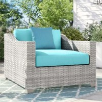 Update your patio seating with this Falmouth Patio Chair with Cushions. Pull it up to a patio table of your choice, place it next to your pool, on your veranda, or near your garden. Crafted from an aluminum inner frame that is wrapped in UV resistant resin wicker. This chair includes one seat and one back cushions, both upholstered with acrylic, and filled with polyester foam. We recommend washing with mild soap and water.