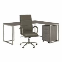 Enjoy a spacious work surface and share your fashionable tastes with this Method Desk, Filing Cabinet and Office Chair Set. Whether you're a work from home parent, small business owner or entrepreneur. The titanium finished metal base provides structural strength with an attractive open design allowing ample legroom, and the return attaches to either side of the table desk to form left or right-handed layout. Roll the mobile file cabinet under the surface for storage that's within arm's reach....
