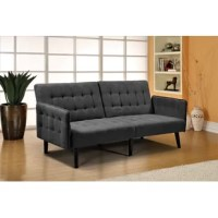 Though this iconic invention has been around since the turn of the 20th century, saving space never goes out of style!Bring the detail and design you love about your contemporary couch to a fully functioning futon, this charming convertible sofa is an excellent option for your den, home office, or multi-purpose guest room.Founded on a solid and manufactured wood frame with metal mechanisms, this dapper design strikes a clean-lined silhouette with an angled backrest, tight square arms, and...