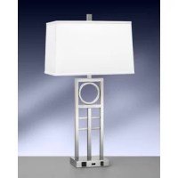 This table lamp is a lighting single nightstand lamp that features are constructed from polished, plated and lacquered steel.