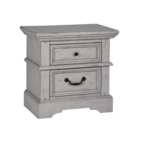 The warm and welcoming the Youth Bedroom collection from this collection is scaled perfectly for smaller spaces. The antique gray finish is the lightly distressed giving character to this well-crafted collection. This Nightstand featured two drawers for storage along with detailed molding and hammered metal knobs and drawer pulls. To prevent snagging, drawer interiors are finished, and the top drawer is felt-lined to protect your finer things.