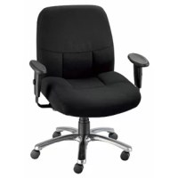 Designed for comfort and durability, this chair is tailor-made for larger-sized or taller people. The ergonomically contoured molded foam seat is extra thick with a waterfall edge for maximum comfort. Pneumatic height control raises and lowers the chair quickly. The included armrests are height and width adjustable. Additional features include dual-wheel casters and polished aluminum base and rise 22'' above the seat.