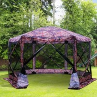 Accommodate yourself and others comfortably while camping, at festivals, during picnics, and more with this pop-up hexagon tent . With 210D water-resistant polyester cloth and flexible fiberglass poles, you'll stay nice and dry outside. Steel ground stakes and solid guy ropes stabilize and protect you against any light winds and weather. Accommodating six to eight people comfortably, it is finished with mesh sidewalls for increased ventilation and will make you fall in love with exploring the...