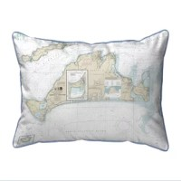This versatile Martha's Vineyard MA Corded Indoor/Outdoor Lumbar Pillow is equally at home enhancing an interior design or adding life to an outdoor setting. It features printed outdoor, fade resistant fabric for years of wear and enjoyment.