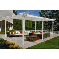 This Bristol Grande 24 Ft. W x 12 Ft. D Vinyl Pergola is a stately shade structure that draws on design inspiration from regency grande and Camelot pergolas. The ingeniously designed six-panel louver system enables you to block out as little or as much sun as you choose. Looks great year after year never paints or stain ever. Perfect spot for your family celebration or neighborhood cocktails. It will not only meet but exceed your expectations.