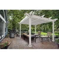 Imagine your home landscaping, complimented by the substantial Preston pergola, featuring round Tuscan columns and 100 square feet of refreshing shade. Enjoy hosting your neighborhood barbecue or your extended family birthday celebrations. Need to control the amount of sunlight on your patio? Simply adjust the movable louvers to your satisfaction. The louvered pergola provides the perfect setting to relax, enjoy your surroundings and unwind. More great news? The collection needs no painting or...