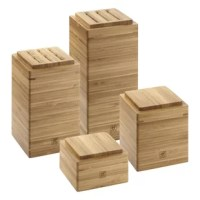 This 4 Piece Bamboo Storage Box Set offers a beautiful way to keep your kitchen organized. 4 Different sizes, the modular stacking system includes interchangeable lids that allow you to store knives and keep your kitchen tools to reach safely. Handily store dried herbs, spices and salt in the small and medium boxes. An herb pot insert allows you to grow fresh herbs within range - so you can easily snip basil, thyme, and parsley to flavor your dishes. More than meets the eye, durable bamboo is...