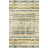 Abstract, painterly inspired stripes of faded charcoal, mustard yellow over the cream-colored base of this contemporary area rug. When it comes to color, the sky is no longer the limit with the endless possibilities of this collection. Thoughtfully crafted in the U.S.A. this collection is radiantly redefining printed rugs, literally one original design at a time. Designed on a plush ever strand woven base, each style in this collection features superior strength stain resistance and cozy soft...