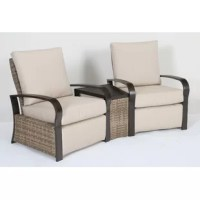 Add functionality and style to your outdoor settings with this Monk 3 Piece Wicker/Rattan Sunbrella 2 Person Seating Group with Cushions. Durable with rust-resistant aluminum frames wrapped with all-weather resin wicker, it has curved set-back arms, seat and back cushions for ultra-comfort. Seat cushions come in a soft, all-weather polyester that is stain, mildew, and fade resistant for enduring beauty. It has a slat-top surface and rust-resistant aluminum frame construction with...