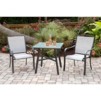 This 3 Piece Bistro Set helps bring paradise closer to home with its all-weather construction, impeccable detail, and sophisticated style - suitable for any 5-star resort. This collection is truly built to last and transforms any backyard into an upscale dining area with cool, contemporary vibes. Two sling dining chairs and a tempered-glass table are all made with a solid foundation, using rustproof aluminum frames in an all-weather gunmetal finish, designed to withstand the test of time. The...