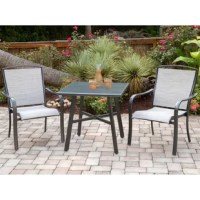 This 3 Piece Sunbrella Bistro Set helps bring paradise closer to home with its all-weather construction, impeccable detail, and sophisticated style - suitable for any 5-star resort. This collection is truly built to last and transforms any backyard into an upscale dining area with cool, contemporary vibes. Two sling dining chairs and a tempered-glass table are all made with a solid foundation, using rustproof aluminum frames in an all-weather gunmetal finish, designed to withstand the test of...