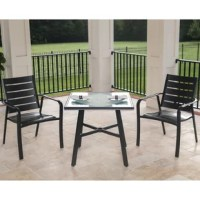 Extend your indoor hospitality outdoors with this 3 Piece Bistro Set. This set includes two aluminum dining chairs and one square tempered-glass table that will help bring comfort and conversation to your outdoor living space - even in the smallest environments. Each item is built with all-weather materials designed to withstand the test of time. The rustproof aluminum frames are treated with a gunmetal finish to complete its sleek, yet simple design. The chair seats are slightly sloped...