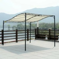 This Outdoor Pergola 10 Ft. W x 10 Ft. D Steel Patio Gazebo is an ideal solution for a summer sunshade for your garden. It can be mounted against a wall and comes with 4 supporting stands. This is made of polyester with PA coating to protect from direct sunlight and from harmful UV rays, and also gives you a shelter for light rain. This is a great way to extend your outdoor living area and a great match for any décor.