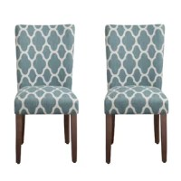 On this dining chair, you'll be enjoying home-cooked meals in style (no matter how that new recipe turns out). Add it to a dining table of your choice, pull it up to a computer desk, or use it as a side chair for extra seating at your next party. Solid pine wood legs support a polyester blended seat, with a geometric print. This chair arrives in a set of two. Measuring 38'' H x 19'' W x 23.5'' D, it requires some assembly upon arrival.