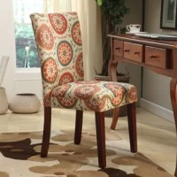 This Deluxe Side Chair is designed with comfort, style, and durability in mind. This beautiful set of chairs mingles well with a globally inspired home. As it has an upholstered seat and back, this set of chairs offers a comfortable seating experience. This set has a mid- tone brown solid wood frame and stays strong for years. It is upholstered with multi-color suzani fabric that is adorned with a lovely floral print. This Deluxe Side Chair stands tall on four legs that offers maximum stability...