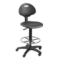 A rugged drafting-height chair with a polyurethane seat and backrest that is built to withstand heavy use in labs and other work environments. Will resist punctures, water, and most chemicals.