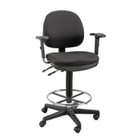 Designed for comfort, style, and convenience, this drafting chair is an outstanding value. Features include pneumatic height control with an adjustment range, padded armrests that are width and height adjustable with seven positions, a height- and depth-adjustable backrest with tilt angle control, adjustable seat pitch, 18'' diameter height-adjustable chrome foot ring, dual-wheel casters, and a steel-reinforced nylon base. Waterfall seat cushion improves circulation. Both are made from...