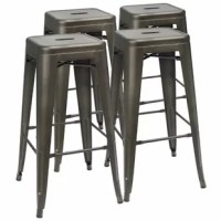 They are ideal for bar height. Fashionable, modern style matte metal stool is a perfect choice, no matter for the bar in the home, or cafe. This set of four bar stools have a square, backless seat founded on tapered legs with a built-in footrest. Crafted from metal with a solid-hued finish. This product features a stackable design that can save your space and easy to store and black rubber feet help save the floor surfaces from scuffs and scratches. Each metal bar stools has an X-brace under...