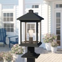 If you've ever found yourself turning to the flashlight function on your phone to light the front walkway or back deck, you might need a post lantern. Perfect for placing on a single post or a railing, this luminary is designed to live outdoors with weather-resistant materials that don't mind UV light beaming down or rainstorms rolling through. Simple and stylish, it pairs a clean-lined silhouette with a neutral black finish.
