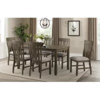 """This dining set features planked tops, and """"saw mark"""" distressing, offering high style, at an affordable price. The upholstered dining chairs feature high back steam-bent chair backs & upholstered seat cushions for added comfort."""
