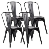 These stylish modern metal chairs ideal for kitchen, dorm, shop, and bar. Stackable chairs for convenient storage and space-saving use.