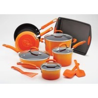 This beautiful and functional Rachael Ray Classic Brights Porcelain Nonstick 14-Piece Cookware Set has all the key shapes and sizes of pots and pans and is paired with a trio of must-have tools and a handy baking sheet. This stylish cookware with a two-tone gradient exterior adds a splash of modern color to your cooktop while helping create delicious meals for the whole family. The nonstick interiors provide impeccable food release for easy cleanup. The sturdy construction promotes even...
