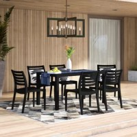 Finish decorating your patio or backyard in one fell swoop with this seven-piece outdoor dining set. Made from plastic, this set of one table and five chairs is weather-, water-, and UV-resistant, making it perfect for placing outdoors. The chairs stack on top of each other for easy storage.