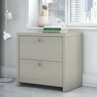 Echo 2-Drawer Lateral Filing Cabinet organizes the home or professional space while expressing your uniquely fashionable tastes. Feel inspired by the beautiful blend of a pure white finish and satin silver hardware. Designed to make organization easy, the contemporary lateral file cabinet contains two spacious drawers gliding on full-extension ball-bearing slides for an effortless reach to letter and legal-size files. The white cabinet provides an impressively thick, durable surface to create a...