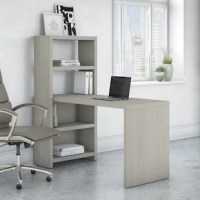 Echo Desk Office Suite brightens the workspace, kitchen or craft room with a contemporary charm and unique space-saving design. Equal parts fashion and function, the bookcase desk offers two adjustable shelves for decoration or organization. Appealing to the modern small business or remote worker, the pure white desk finish inspires while a reliable construction and thermally fused laminate surface endure years of use for lasting beauty. Set up your laptop on the desk surface as you store work...
