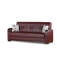 This convertible sofa bed is a luxurious leather-upholstered sofa by day and a comfortable, convenient bed by night or any time you want to take a nap. Its rich burgundy color adds to any room decor, and it includes a convenient storage compartment. Comfortably seats three and can conveniently fold out into a bed for an adult.