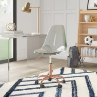 Tackle your to-do list in style with this on-trend office chair. Brimming with a modern flair, it features a streamlined scoop seat crafted from acrylic in a transparent tone. A metallic finish outfits the metal pedestal base for another sleek touch, while locking caster wheels below offer must-have mobility. Thanks to a pneumatic lift lever just below the seat, you can adjust this swivel chair's height to suit your proportions. Assembly is required.
