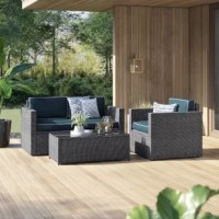 Entertain on the patio or porch with this three-piece sofa set! Including one armchair, one loveseat, and one coffee table, each piece in this set strikes a clean-lined contemporary silhouette founded on a steel inner frame and wrapped in tightly-woven resin wicker. Each seat is lined with a weather-resistant cushion stuffed with foam fill for added comfort, while the coffee table comes with a tempered glass tabletop – perfect for displaying appetizers and drinks at your next backyard bash.