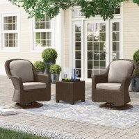 This club chair and side table set, crafted from iron and polyethylene wicker, has everything you want from your outdoor furniture – comfort, functionality, and weather-resistance! Its two chairs are set on a swivel to facilitate easy conversation, allow you to turn around and watch the little ones, or to admire the blooming flowers! This set's side table ensures that you'll always have somewhere to rest your drink, magazine, or tray of appetizers.