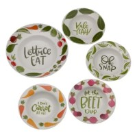 Eating and serving vegetables and other foods just got a lot more fun with this set. This fun, the multi-color set features five hilarious veggie puns: lettuce eat, kale yeah! Oh snap, let the beat drop and don't carrot all. Made from high-quality porcelain, these bowls are durable for everyday use.