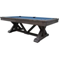 This pool table has trestle leg design and hand finishing is inspired by old world styling and craftsmanship. More than just beautiful furniture, high-quality materials and construction will ensure many years of billiards with family and friends. Weathered finishes are achieved by applying semi-transparent stains over a base color on natural wood to create an overtone color range. Finished wood that has naturally weathered outdoors will have varying degrees of intensity within the color range...