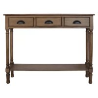 This console table is an easy way to add function and style to your home. This console table offers a way to create storage space in a unique-looking way. The hand-applied finishes offer many different looks for a variety of decor styles.