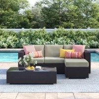 Lend your outdoor arrangement a place to kick back and converse with friends simply by adding this three-piece sectional set! Each piece – including one sofa, one coffee table, and one ottoman – features an aluminum inner frame wrapped in resin wicker for a laid-back look that's tough enough to resist the occasional rainstorm and a few too-sunny days.