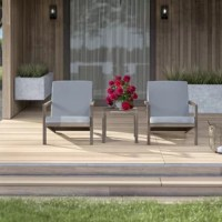 Whether you're looking to soak up some sun with a good book or settling in to enjoy a cool drink with a friend, a set like this is a great option for making the most of your outdoor ensemble. Perfect for a contemporary look on your balcony or deck, this set is crafted from solid acacia wood and includes two deep-seated chairs and a side table. And since cushions crafted from foam filling with removable polyester covers are included, this set includes padded touches perfect for leaning into.