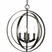Four-light sphere foyer lantern inspired by ancient astronomy armillary spheres. Interlocking rings pivot for an infinite variety of positions.