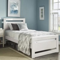 A modern theme meets classic construction with this rectangular cut out panel bed. A wooden head and foot board display simple, contemporary styled detail with a rectangular cut out portion, while multiple color options allow for a personalized bedroom space.