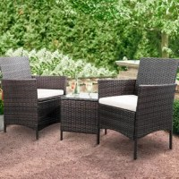 3 pieces of patio sets including 2 chairs and 1 glass coffee table. This outdoor patio furniture set is perfect for patio, porch, backyard, balcony, poolside, garden and other suitable space in your home. It is assembled easily, The set with all-weather resistant and UV resistant brown rattan and modern design perfect for any space and any season. The seat cover with zipper design is easy to remove and clean. The elegant coffee table with black tempered glass, which can place coffee, tea or red...