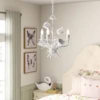 Fashioned after a bouquet of blooming tulips, this chandelier isn't just a master illuminator – it's a whimsical accent for your little one's space! Crafted from metal, it pairs petals and draped leaves with bobeches that feature faux melted wax accents for a whimsical, romantic look. A trio of candle-style sockets hold 60 W bulbs (not included) as they cast a warm, relaxing glow throughout your ensemble. Plus, this luminary is compatible with a dimmer switch, so you can change up the...