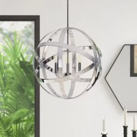 Influenced by mid-century modern designs, this chic armillary chandelier showcases an open globe silhouette with geometric ring-like overlay for eye-catching appeal. A sleek chrome finish contributes to its contemporary look, while three 60 W candelabra-base bulbs within (not included) offer a boost of brightness. Crafted of steel, this fixture is suspended from a sloped-ceiling-compatible canopy and matching downrod. The manufacturer backs this product with a one-year limited warranty....