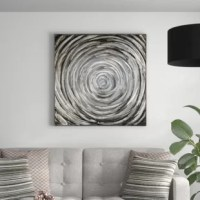 Get lost in the mesmerizing circle design of the 'Adda' Print on Canvas in Silver/Gray. Shades of gray, silver and black are elevated with aluminum accents. Texture is so great that it almost looks wet.