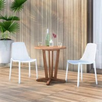 Create a compelling and cohesive aesthetic in your arrangement with this three-piece bistro set – which includes one table and two chairs. Crafted from solid teak wood, the table is perched atop a pedestal base, working well in a variety of aesthetics, while a neutral hue allows it to blend with your color scheme. Both resin chairs sport a net-inspired seat and back, lending a touch of texture. Plus, this entire set is weather resistant, so it's right at home both outdoors and in.