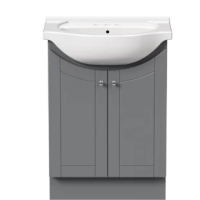 This vanity set with the top ensemble is the perfect choice for smaller bath spaces and powder rooms, providing that much-needed storage that isn't available with a pedestal sink. It has 2 doors opening to a large storage space, with a recessed toe-kick. Its on-trend shaker-style doors are always in style and blend seamlessly with any décor. The 1-piece white porcelain vanity top with sink allows easy cleaning with no seams to risk bacteria growth. The vanity top is drilled for a 4