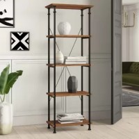 The etagere shelf gained popularity in the 19th Century for its open structure, which let owners display knickknacks and decorative objects with ease. No less popular today, etageres like this one have had a modern facelift, making it an on-trend item for contemporary or industrial-inspired homes. Crafted from black-finished metal with pine shelves, this piece features classic open construction for a breezy look. Measuring 74.5'' H x 26'' W x 15'' D, you're sure to find storage for books...