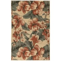 This Tropical Flower Cream Indoor/Outdoor Area Rug creates a sense of relaxation without having to leave home. It's oversized hibiscus floral design makes it the perfect complement to any décor. A versatile and visually striking rug without the upkeep, perfect for busy lifestyles. These vibrant, weather-resistant rugs are low-profile and durable yet feature a subtle pile creating a unique floor covering which is both versatile and soft underfoot. The low-profile nature of this collection...