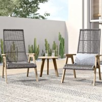 Perfect for petite patios, this three-piece patio set includes one table and two chairs so you can sink back and soak up some sun beside a loved one. Crafted from teak wood in a warm brown finish, each piece resists rust, weather, water, and UV with regular maintenance (treat with teak oil). Resin wicker wraps around the aluminum chair frames for a bit of breezy flair. Two olefin toss pillows are included to make this set even more inviting. The manufacturer backs this set with a three-year...